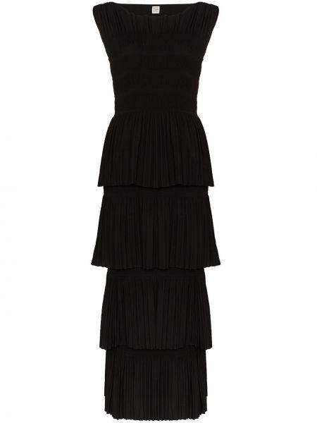 Платье макси каскадное черное TotÊme
