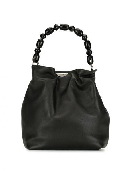 Skórzany czarny torba z uchwytami z koralikami Christian Dior