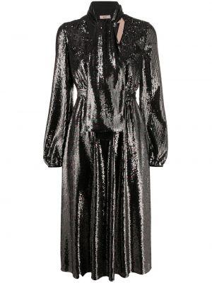 Czarna sukienka midi z paskiem z wiskozy N°21