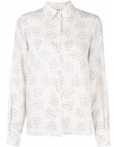 Шелковая белая классическая рубашка с воротником Lanvin
