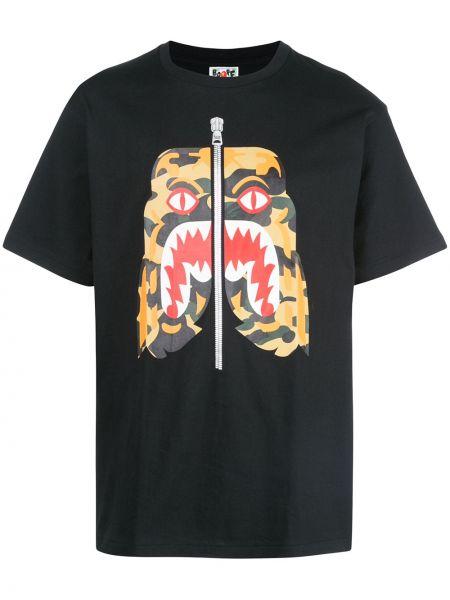 Koszula krótkie z krótkim rękawem z nadrukiem czarna Bape