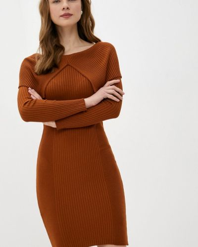 Коричневое трикотажное вязаное платье Rinascimento