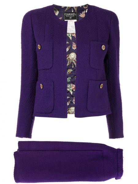 Фиолетовый нейлоновый костюмный вязаный юбочный костюм Chanel Pre-owned