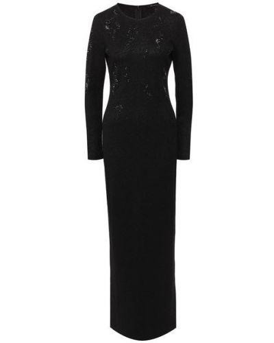 Кружевное черное платье с аппликациями из вискозы St. John