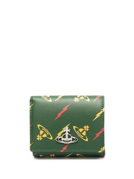 Zielony portfel na monety z prawdziwej skóry z zamkiem błyskawicznym Vivienne Westwood