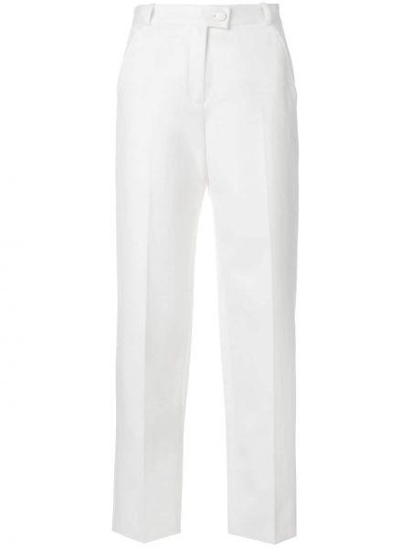 Хлопковые белые деловые брюки с высокой посадкой Vanessa Seward
