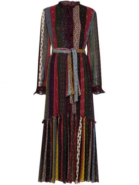 Шелковое красное платье макси с нашивками Etro