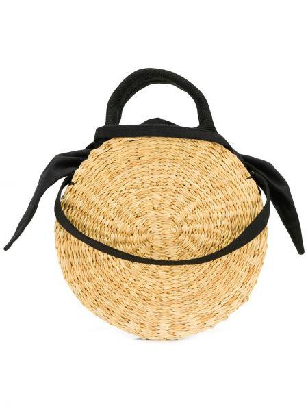 Хлопковая коричневая соломенная сумка на плечо круглая Muun