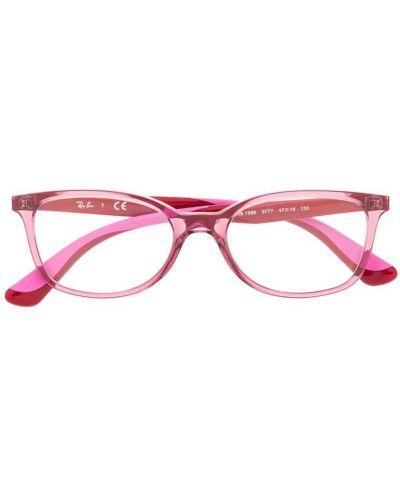Розовые очки прямоугольные металлические прозрачные Ray Ban Junior