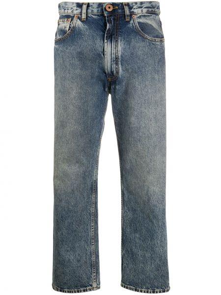 Синие укороченные джинсы на пуговицах с поясом в стиле бохо Maison Margiela