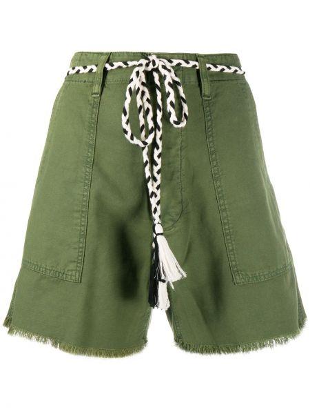 Зеленые хлопковые шорты с бахромой The Great.