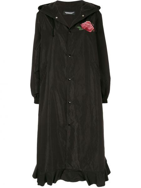 Черное длинное пальто оверсайз с капюшоном Undercover