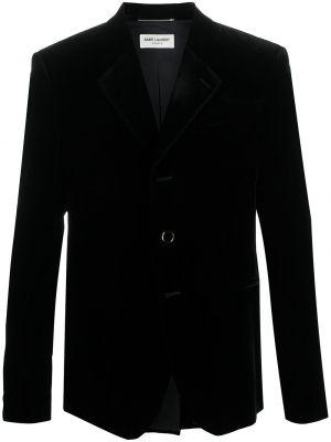 Czarny jednorzędowy blezer z kieszeniami z wiskozy Saint Laurent