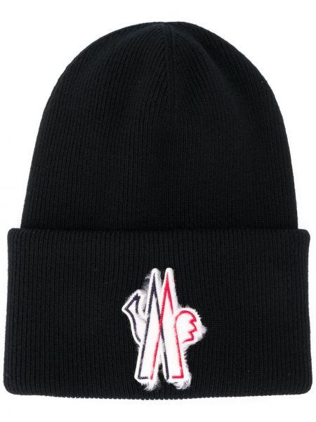 Czarny kapelusz wełniany z haftem Moncler Grenoble