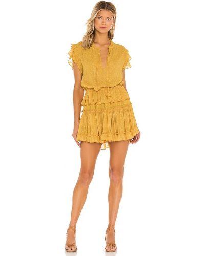 Желтое текстильное платье с подкладкой с декольте Misa Los Angeles