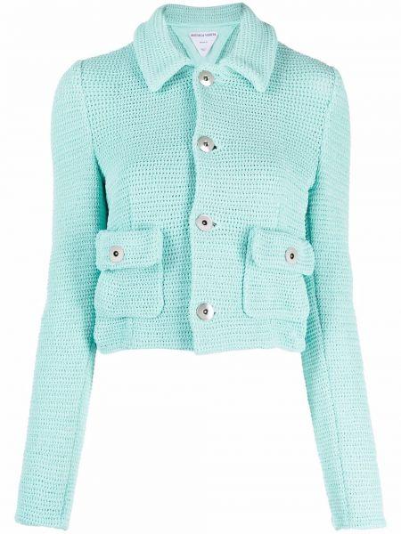 Синий классический пиджак с воротником на пуговицах Bottega Veneta
