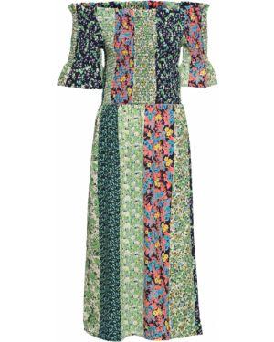 Платье миди пэчворк с вырезом Bonprix