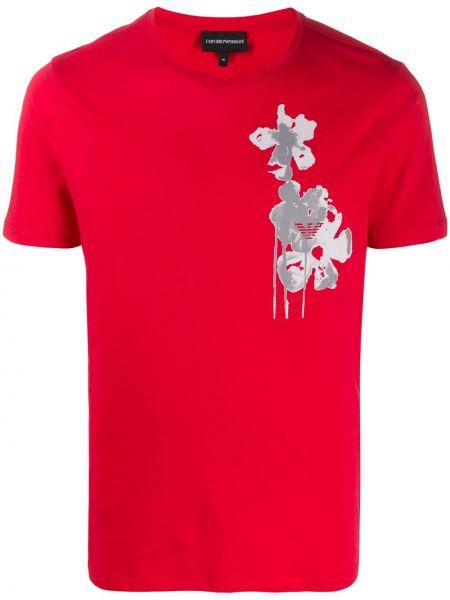Koszula krótkie z krótkim rękawem prosto z nadrukiem Emporio Armani