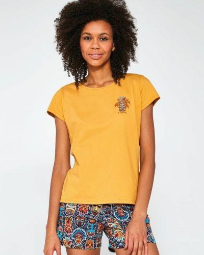 Хлопковая желтая футболка с короткими рукавами Cornette
