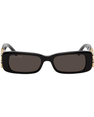 Кожаные черные солнцезащитные очки прямоугольные Balenciaga