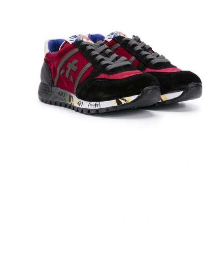 Красные кожаные кроссовки с заплатками на шнуровке Premiata Kids