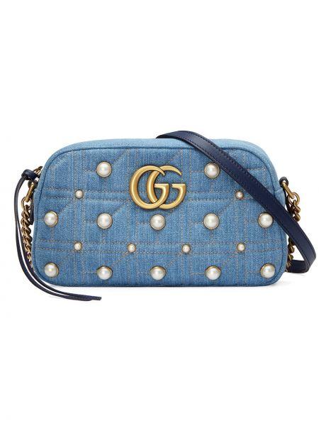 Синяя шелковая стеганая сумка с логотипом Gucci