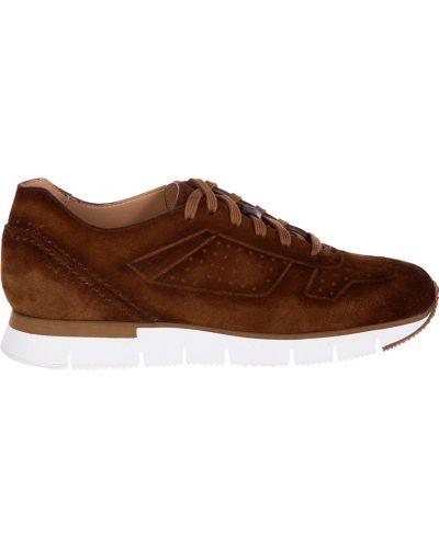 Кроссовки замшевые коричневый Santoni