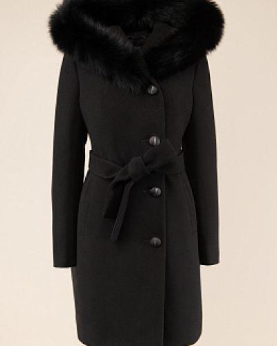 Драповое черное пальто с капюшоном каляев