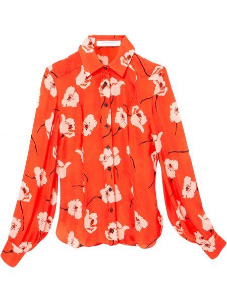 Шелковая с рукавами красная классическая рубашка Carolina Herrera