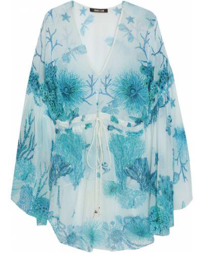 Bluzka z jedwabiu - turkusowa Roberto Cavalli