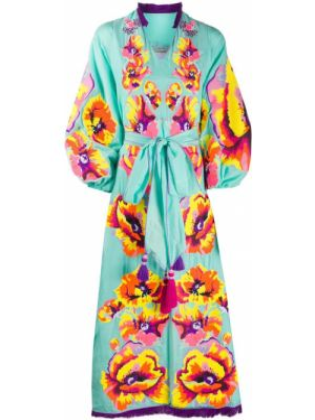 Шелковое расклешенное платье мини с вышивкой на молнии Yuliya Magdych