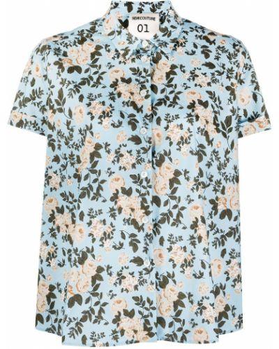 Рубашка с коротким рукавом - синяя Semicouture