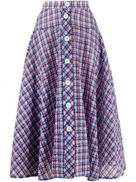 Niebieska spódnica midi z wysokim stanem bawełniana Ultrachic