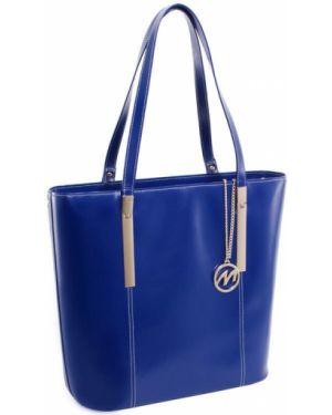 Niebieska klasyczna torebka skórzana Mcklein