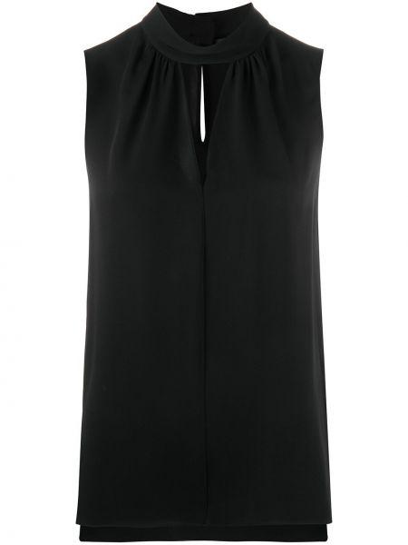 Шелковая черная блузка без рукавов с вырезом на пуговицах Theory
