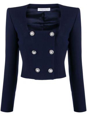Шерстяная синяя длинная куртка двубортная Alessandra Rich