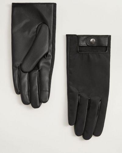 Кожаные перчатки текстильные нейлоновые Mango