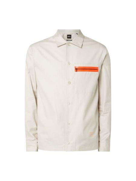 Bawełna beżowy koszula z kieszeniami z mankietami Boss
