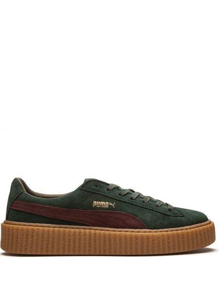 Zielony pnącza buty zasznurować okrągły z prawdziwej skóry Fenty X Puma