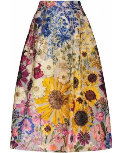 Шелковая юбка миди Oscar De La Renta