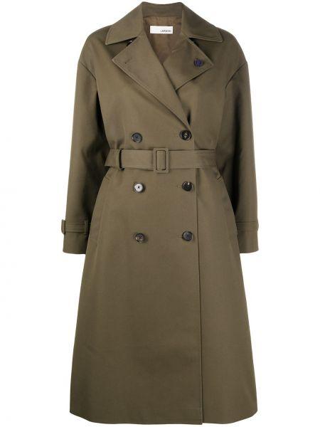 С рукавами оливковое длинное пальто двубортное с карманами Lardini