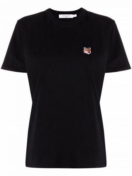 Хлопковая прямая футболка с короткими рукавами с вырезом Maison Kitsuné