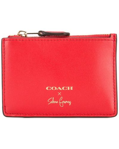 Красный кожаный кошелек Coach