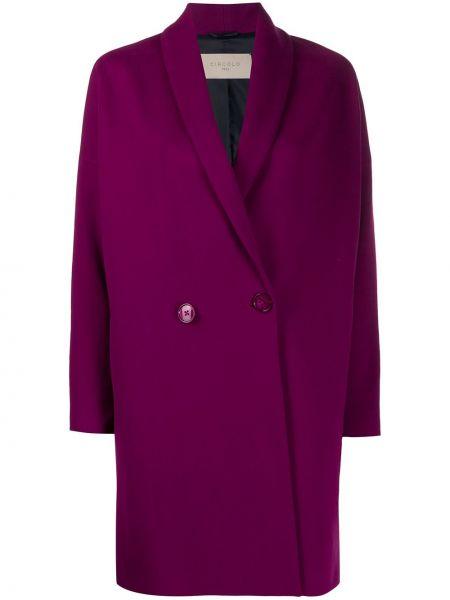 С рукавами розовое длинное пальто с воротником двубортное Circolo 1901