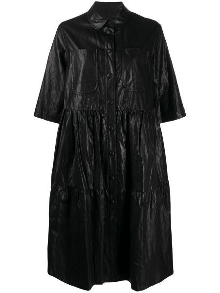Черное классическое кожаное платье с рукавами с воротником Neul