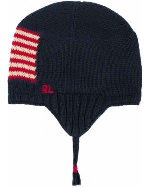Niebieska czapka z haftem bawełniana Ralph Lauren Kids