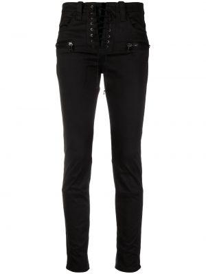 Хлопковые черные укороченные джинсы с карманами на молнии Unravel Project