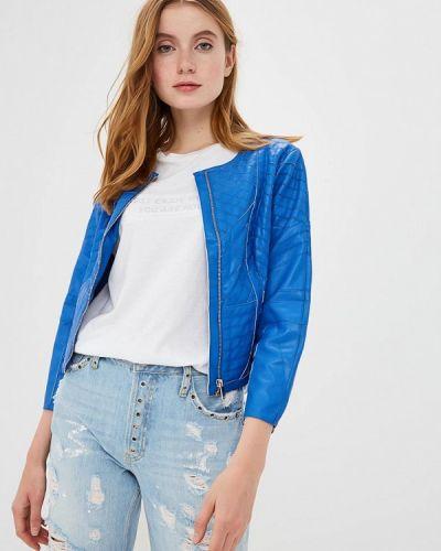 Кожаная куртка весенняя синий Silvian Heach