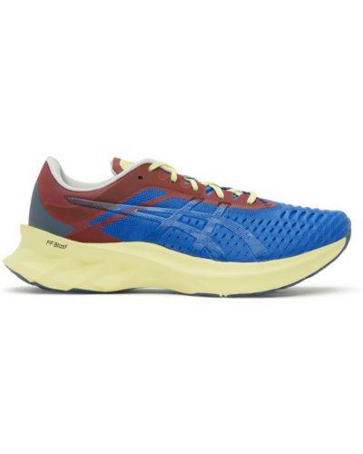 Синие кроссовки сетчатые на каблуке с нашивками Affix