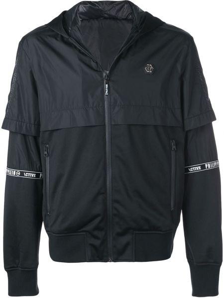 Czarna kurtka z kapturem z nylonu Philipp Plein